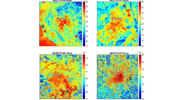These maps of four European cities show ECOSTRESS surface temperature images