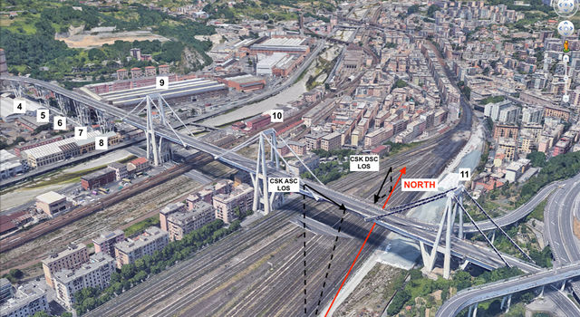 A satellite view of the Morandi Bridge in Genoa, Italy