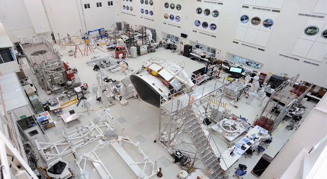 Major components of NASA's Mars 2020 mission in the High Bay 1 clean room