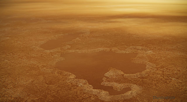 Illustration of lakes formed on the surface of Titan created from Cassini data.