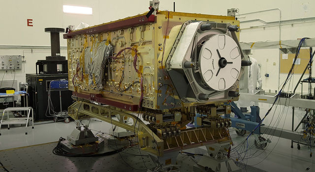 OCO-3 sits on the large vibration table