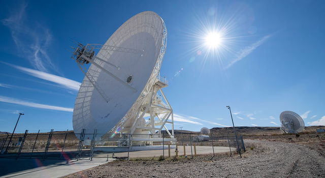 Antenna dishes at NASA's Deep Space Network complex in Goldstone, California