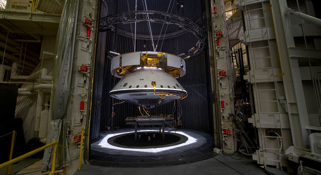 The completed spacecraft that will carry the Mars 2020 rover to the Red Planet