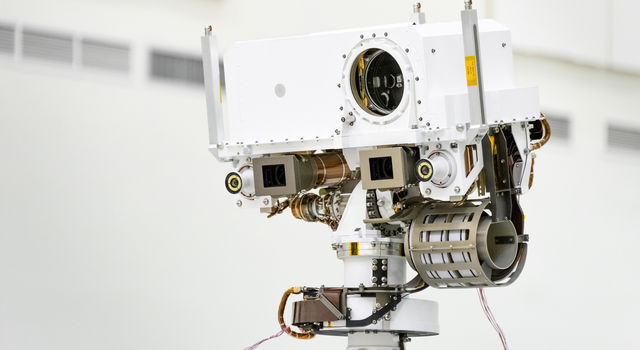 Photo of close-up of the head of Mars 2020's remote sensing mast.