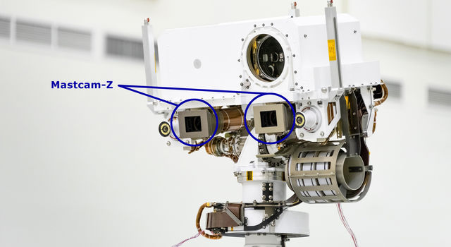 A close-up of the head of Perseverance Rover's remote sensing mast