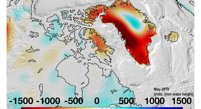 Almost all of Greenland continued to lose mass in May 2019
