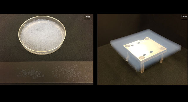 Photo of petrie dish on left and aerogel on right