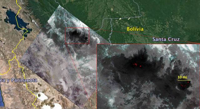 slide 1 - ECOSTRESS imagery of fires burning in the Bolivian Amazon