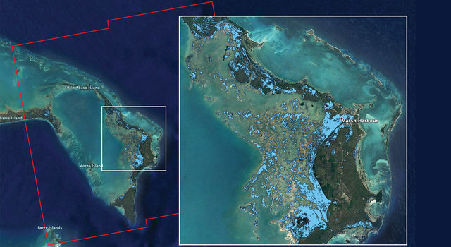 NASA's ARIA team used satellite data acquired on Sept. 2, 2019, to map flooding in the Bahamas in the wake of Hurricane Dorian.