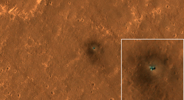 HiRISE camera on NASA's Mars Reconnaissance Orbiter got its best view yet of the InSight lander