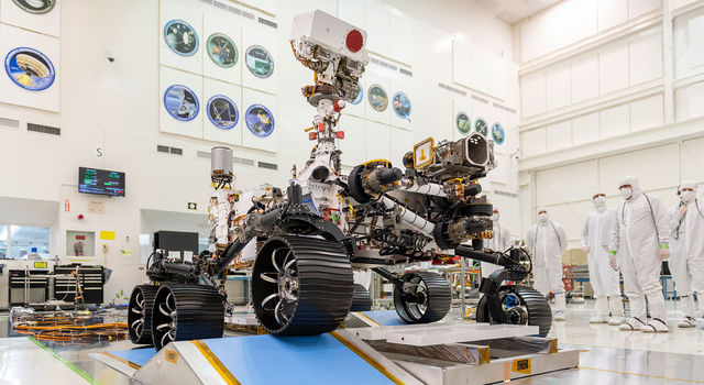 The first driving test for NASA's Mars 2020 rover on Dec. 17, 2019