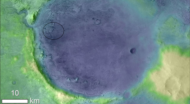 Color has been added to highlight minerals in this image of Jezero Crater on Mars