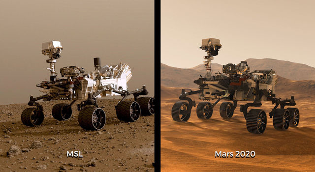 Illustrations of NASA's Curiosity and Mars 2020 rovers