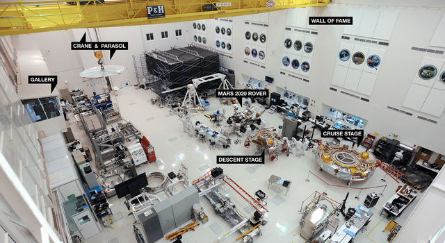 The High Bay 1 clean room within the Spacecraft Assembly Facility at JPL