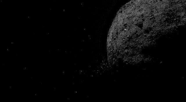 This view of asteroid Bennu ejecting particles from its surface on Jan. 6, 2019