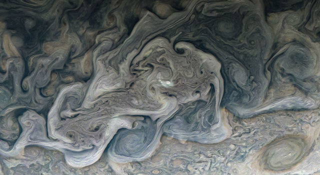 Layers of clouds swirl in Jupiter's atmosphere