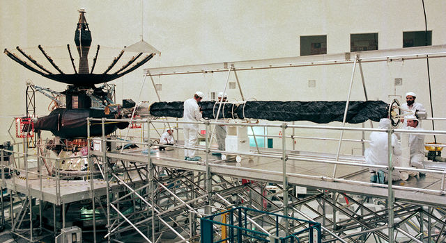 White walls and scaffolding had become a common sight in the High Bay 1 clean room in JPL's Spacecraft Assembly Facility