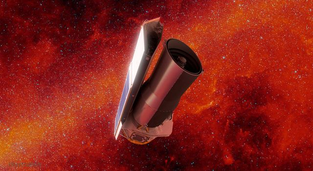 A artist's rendition of the Spitzer Space Telescope on top of a red-and-orange colored view of the Milky Way galaxy