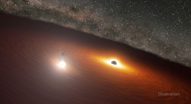 This image shows two massive black holes in the OJ 287 galaxy