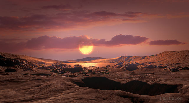 This artist's concept shows exoplanet Kepler-1649c orbiting around its host red dwarf star