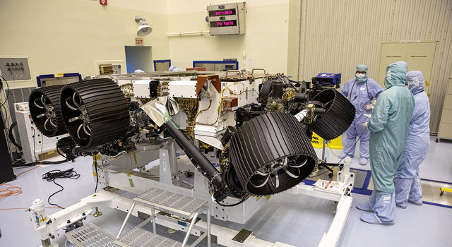 NASA's Mars 2020 rover, now called Perseverance, undergoes processing at a payload servicing facility at NASA's Kennedy Space Center