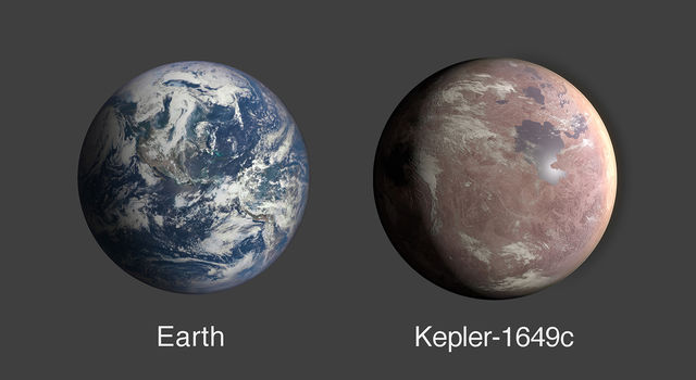 This graphic compares the size of Earth and Kepler-1649c
