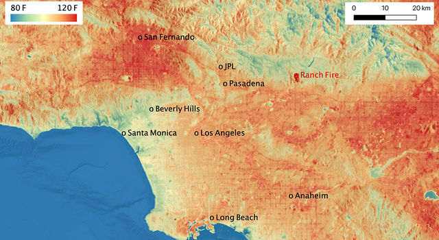 This ECOSTRESS temperature map shows the land surface temperatures throughout Los Angeles County on Aug. 14, 2020