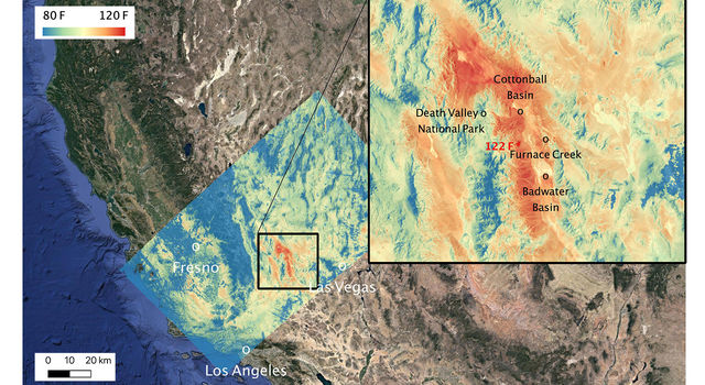 This ECOSTRESS temperature map shows the land surface temperatures around Death Valley on Aug. 16, 2020