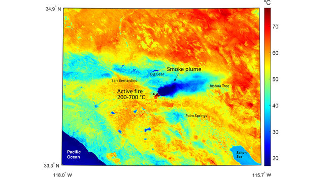 This ECOSTRESS temperature map shows the region surrounding the Apple fire