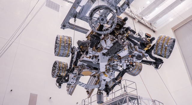 NASA's Perseverance rover is moved during a test of its mass properties