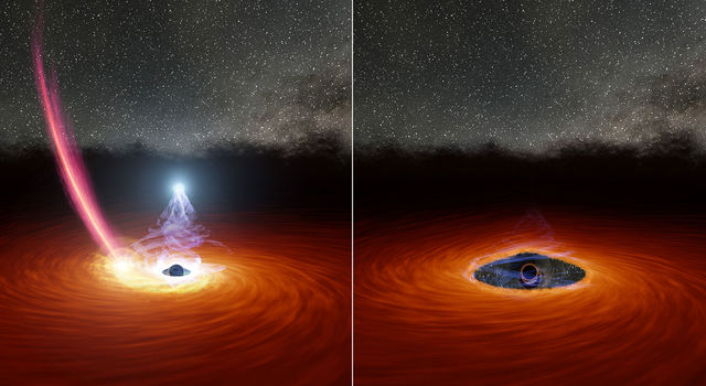 This illustration shows a black hole surrounded by a disk of gas