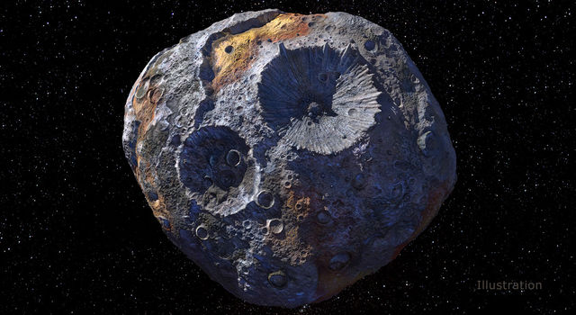 This artist's concept depicts the asteroid Psyche, the target of NASA's Psyche mission