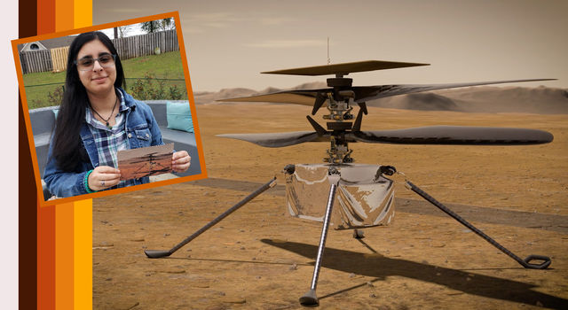 Vaneeza Rupani (inset), a junior at Tuscaloosa County High School in Northport, Alabama, came up with the name Ingenuity for NASA's Mars Helicopter