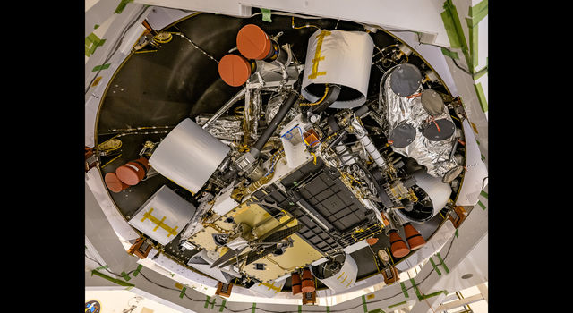 NASA's Mars Perseverance rover's descent stage was recently stacked atop the rover at Kennedy Space Center