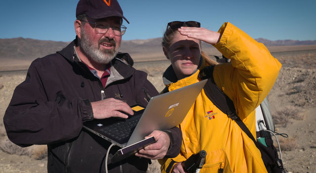 Michael Tuite and Rachel Kronyak of NASA's Jet Propulsion Laboratory served as part of the desert field team