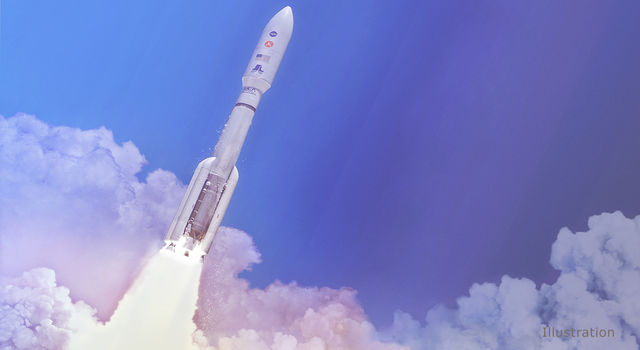 In this artist's concept, a two-stage United Launch Alliance Atlas V launch vehicle speeds the Mars 2020 spacecraft toward the Red Planet