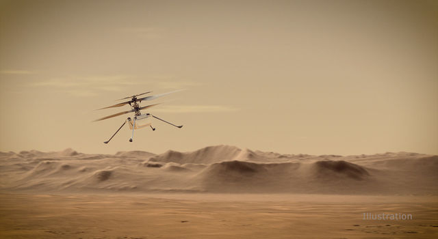 An artist's concept of NASA's Ingenuity Mars Helicopter flying