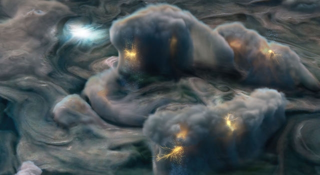 This illustration depicts high-altitude electrical storms on Jupiter