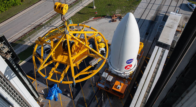 NASA's Mars 2020 Perseverance rover waits to be lifted onto its Atlas V launch vehicle