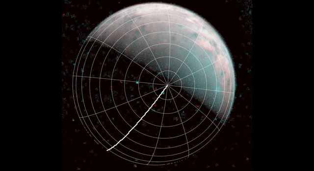 The north pole of Ganymede can be seen in center of this annotated image