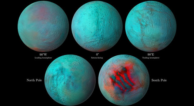 In these detailed infrared images of Saturn's icy moon Enceladus, reddish areas indicate fresh ice