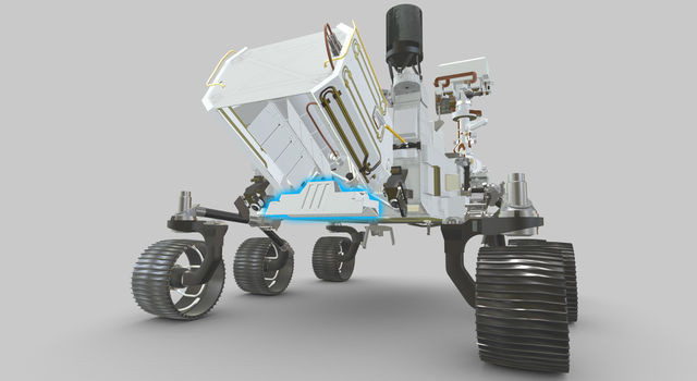 Highlighted in blue in this visualization, the RIMFAX instrument's antenna is externally mounted underneath the MMRTG (the rover's nuclear battery) on the back of Perseverance