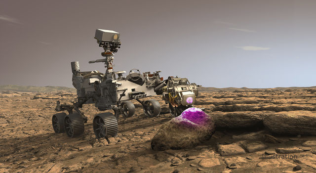 In this illustration, NASA's Perseverance Mars rover uses the Planetary Instrument for X-ray Lithochemistry (PIXL)