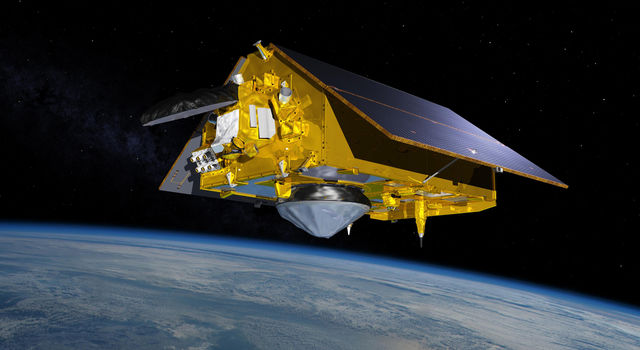 In this illustration, the Sentinel-6 Michael Freilich spacecraft - the world's latest sea-level satellite - orbits Earth with its deployable solar panels extended