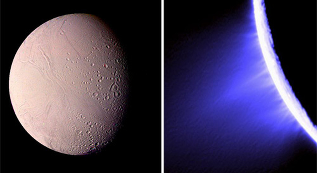 Image of Enceladus from Voyager and Cassini's view of jets shootin from the surface