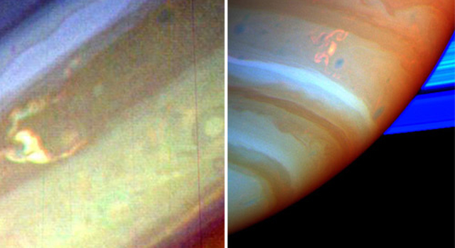 storms and lightning on saturn captured by Voyager and Cassini, respectively