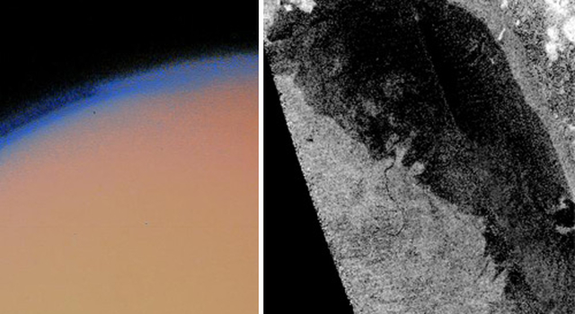 Voyager image of haze on Titan and Cassini image of a lake on Titan's surface