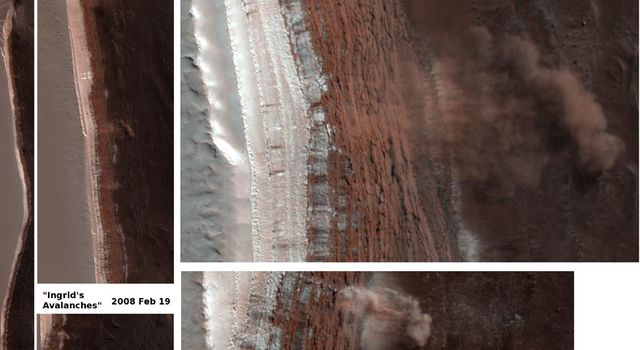 Amazingly, this image has captured at least four Martian avalanches, or debris falls, in action.