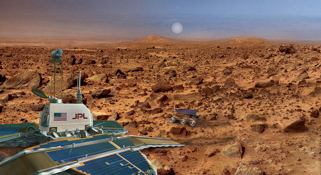 An artist's rendering of Mars Pathfinder