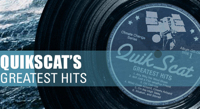QuikScat vinyl record illustrating its greatest hits